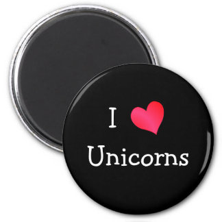 I Love Unicorns 6 Cm Round Magnet