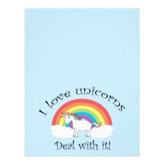I love unicorns deal with it blue 21.5 cm x 28 cm flyer