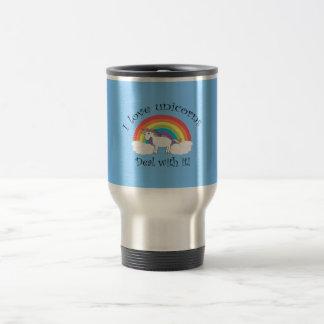I love unicorns deal with it blue travel mug