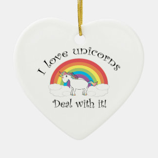 I love unicorns Deal with it! Christmas Ornament