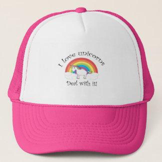 I love unicorns Deal with it! Trucker Hat