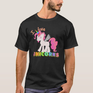 I LOVE UNICORNS SHIRT!  Cute Unicorn Shirt! BLACK T-Shirt