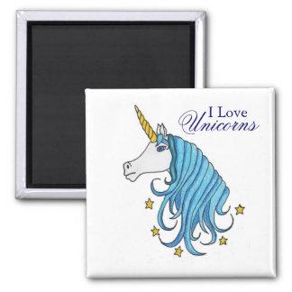 I Love Unicorns Square Magnet