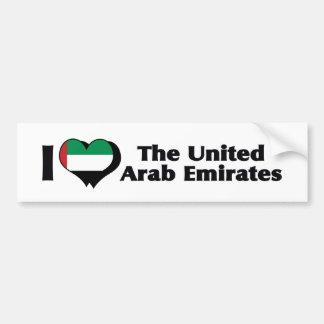 I Love United Arab Emirates Flag Bumper Sticker