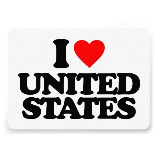 I LOVE UNITED STATES INVITATIONS