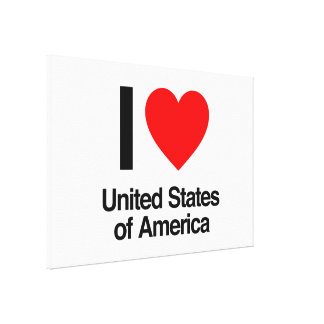 i love united states of america stretched canvas prints