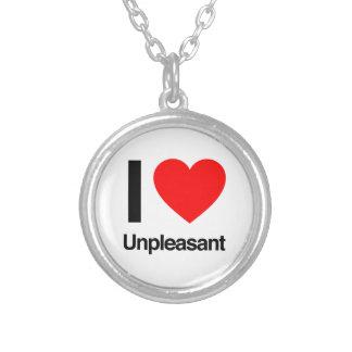 i love unpleasant round pendant necklace