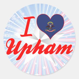 I Love Upham, North Dakota Round Stickers