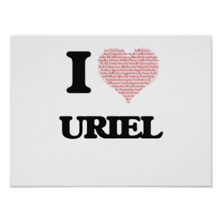 I Love Uriel (Heart Made from Love words) Poster