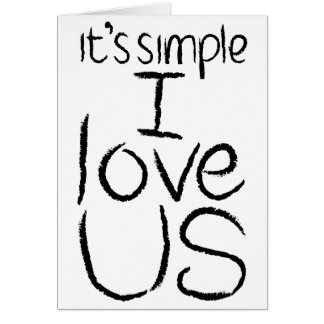 I Love Us black & white card