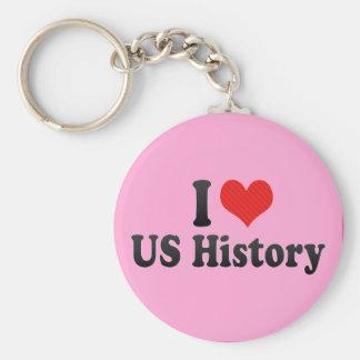I Love US History Key Chain
