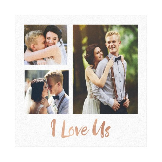I Love Us Rose Gold Script Wedding Canvas