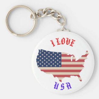 I Love Usa Flag America Key Chain