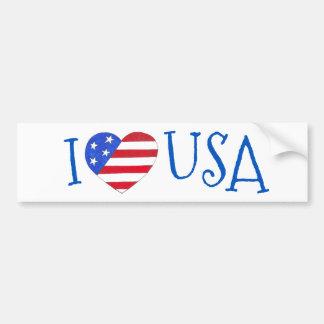 I Love USA Patriotic July 4th American Flag Heart Bumper Sticker