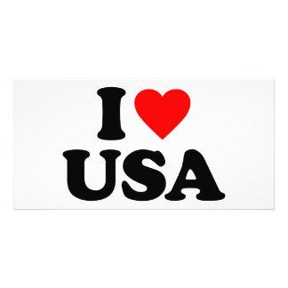 I LOVE USA PHOTO GREETING CARD