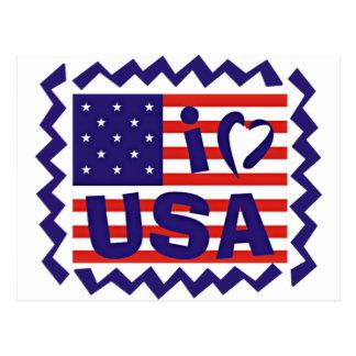 I love USA Stamp Design Postcard