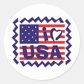 I love USA Stamp Design Round Sticker