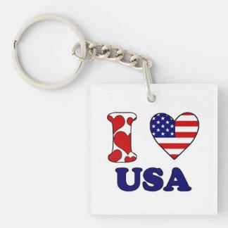 I love USAS Single-Sided Square Acrylic Key Ring