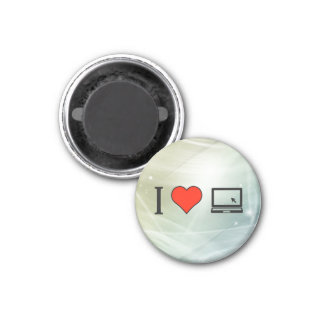 I Love Using Laptop With Mouse Cursor 3 Cm Round Magnet