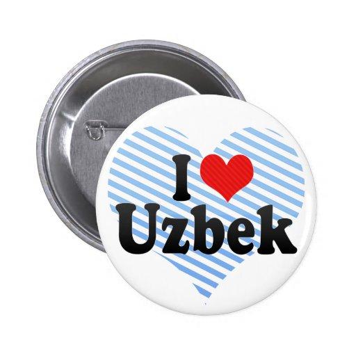 I Love Uzbek Button