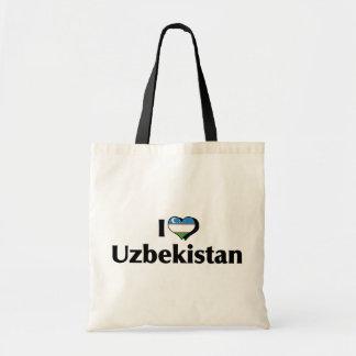 I Love Uzbekistan Flag Budget Tote Bag