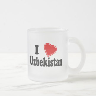 I Love Uzbekistan Frosted Glass Coffee Mug