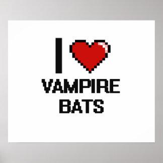 I love Vampire Bats Digital Design Poster
