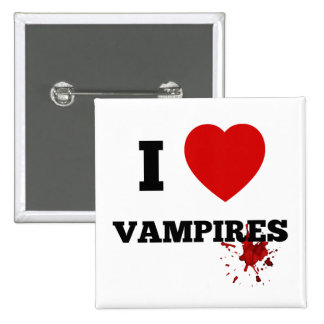 I love vampires 15 cm square badge