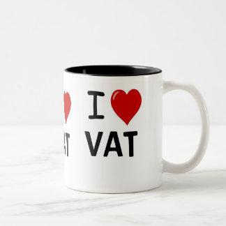 I Love VAT I Love VAT I Heart VAT Triple Sided Two-Tone Mug