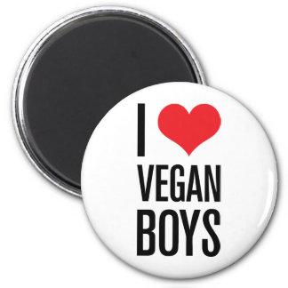I Love Vegan Boys 6 Cm Round Magnet