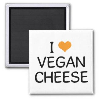 I Love Vegan Cheese Square Magnet