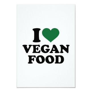 "I love vegan food 3.5"" x 5"" invitation card"