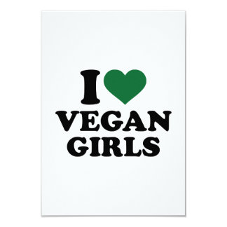 "I love vegan girls 3.5"" x 5"" invitation card"
