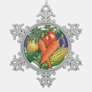 I Love Vegetable Gardening Snowflake Pewter Christmas Ornament
