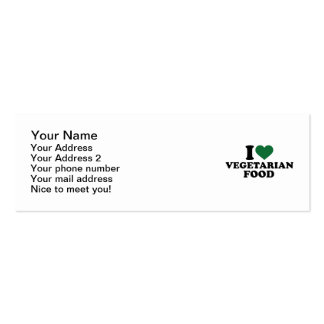 I love vegetarian food pack of skinny business cards