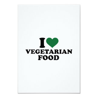 "I love vegetarian food 3.5"" x 5"" invitation card"