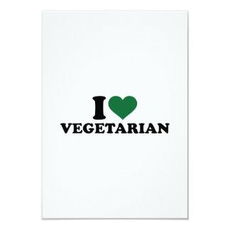 "I love vegetarian 3.5"" x 5"" invitation card"