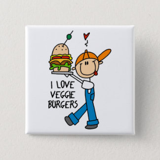 I Love Veggie Burgers 15 Cm Square Badge