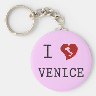 I Love Venice Basic Round Button Key Ring