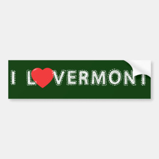 I Love Vermont Bumper Sticker