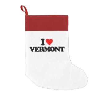 I LOVE VERMONT SMALL CHRISTMAS STOCKING