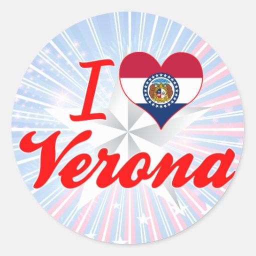 I Love Verona, Missouri Round Stickers