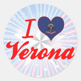 I Love Verona, North Dakota Round Stickers