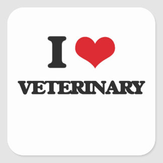 I love Veterinary Square Sticker