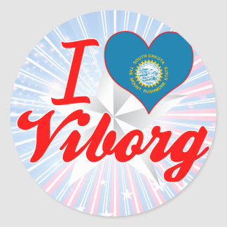 I Love Viborg, South Dakota Round Stickers