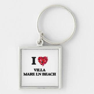 I love Villa Mare Ln Beach Florida Silver-Colored Square Key Ring