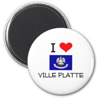 I Love VILLE PLATTE Louisiana 6 Cm Round Magnet