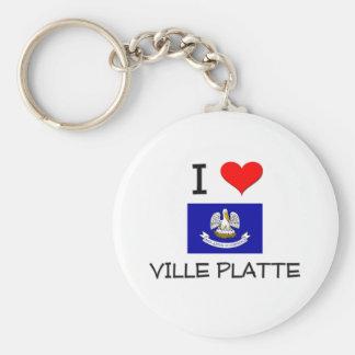 I Love VILLE PLATTE Louisiana Basic Round Button Key Ring