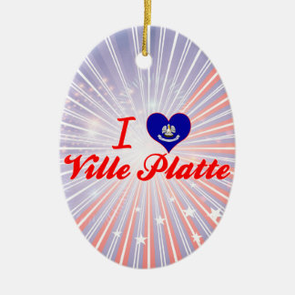 I Love Ville Platte, Louisiana Ceramic Oval Decoration