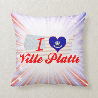I Love Ville Platte, Louisiana Throw Pillows